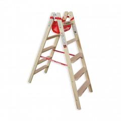 Euroline Holz Stufenstehleiter mit Comfort-Stufen mit Werkzeugablage 2x5 Stufen