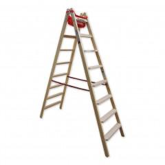 Euroline Holz Stufenstehleiter mit Comfort-Stufen mit Werkzeugablage 2x8 Stufen