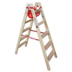 Euroline Holz Stufenstehleiter mit Comfort-Stufen mit Werkzeugablage 2x6 Stufen