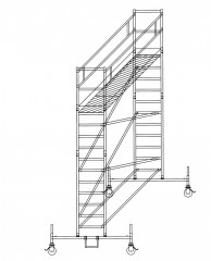 Günzburger Rollgerüst mit Fahrbalken 0,75x2,45m Plattform, 5,50m AH