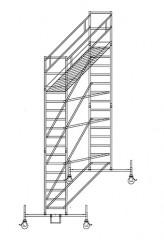 Günzburger Rollgerüst mit Fahrbalken 0,75x2,45m Plattform, 6,50m AH