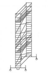 Günzburger Rollgerüst mit Fahrbalken 0,75x2,45m Plattform, 8,50m AH