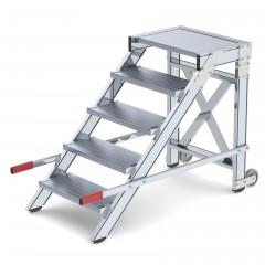 Günzburger Arbeitspodest fahrbar Stahl-Gitterrost 600mm Stufenbreite 5 Stufen