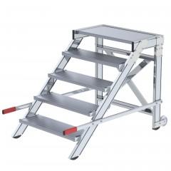Günzburger Arbeitspodest fahrbar Stahl-Gitterrost 800mm Stufenbreite 5 Stufen