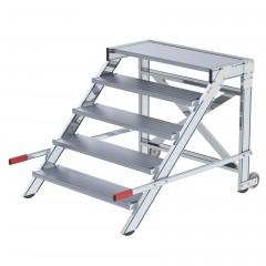 Günzburger Arbeitspodest fahrbar Aluminium geriffelt 1000mm Stufenbreite 5 Stufen