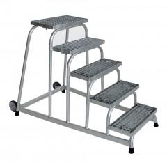 Günzburger Arbeitspodest fahrbar mit Stahl-Gitterrost 5 Stufen
