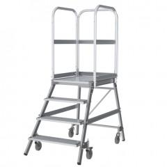 Günzburger Podestleiter fahrbar Aluminium geriffelt 4 Stufen
