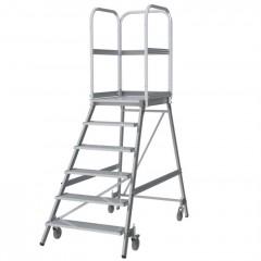 Günzburger Podestleiter fahrbar Aluminium geriffelt 6 Stufen