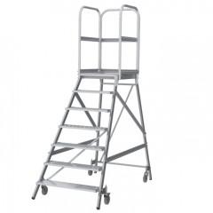 Günzburger Podestleiter fahrbar Aluminium geriffelt 7 Stufen