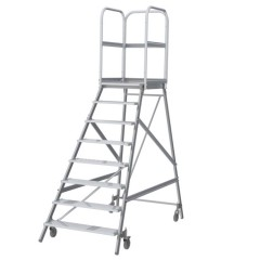 Günzburger Podestleiter fahrbar Aluminium geriffelt 8 Stufen