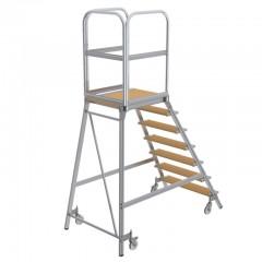 Günzburger Podestleiter fahrbar Holz 7 Stufen
