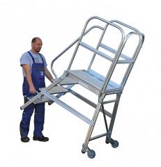 Günzburger Podestleiter mit Rollen und Griff Aluminium geriffelt 7 Stufen