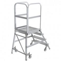 Günzburger Podestleiter fahrbar Stahl-Gitterrost 4 Stufen