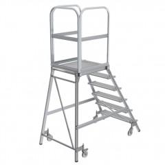 Günzburger Podestleiter fahrbar Stahl-Gitterrost 6 Stufen