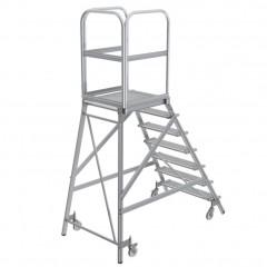 Günzburger Podestleiter fahrbar Stahl-Gitterrost 7 Stufen