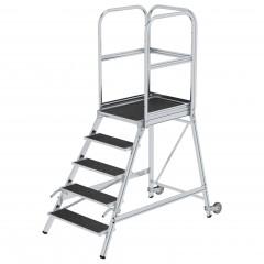 Günzburger Podestleiter mit Rollen und Griff Stahl-Gitterrost 5 Stufen