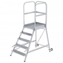 Günzburger Podestleiter mit Rollen und Griff Aluminium geriffelt 5 Stufen