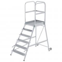 Günzburger Podestleiter mit Rollen und Griff Aluminium geriffelt 6 Stufen