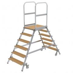 Günzburger Podestleiter fahrbar Holz 2x6 Stufen