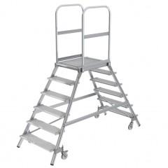 Günzburger Podestleiter fahrbar Stahl-Gitterrost 2x6 Stufen