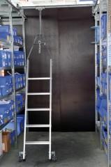 Günzburger Aluminium-Regalleiter für Doppelregal drehbar