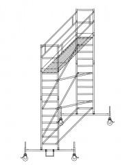 Günzburger Rollgerüst mit Plattformen im 2m-Abstand 0,75x1,80m Plattform, 5,50m AH