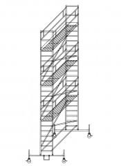 Günzburger Rollgerüst mit Plattformen im 2m-Abstand 0,75x2,45m Plattform, 8,50m AH