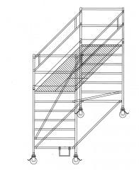 Günzburger Rollgerüst mit Auslegern und Doppelplattform  1,35x3,00m Plattform, 4,40m AH