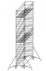 Günzburger Rollgerüst mit Auslegern und Doppelplattform  1,35x3,00m Plattform, 10,40m AH