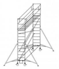 Günzburger Rollgerüst mit Auslegern 0,75x1,80m Plattform, 5,40m AH
