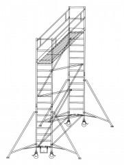 Günzburger Rollgerüst mit Auslegern 0,75x1,80m Plattform, 6,40m AH