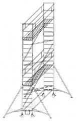 Günzburger Rollgerüst mit Auslegern 0,75x1,80m Plattform, 7,40m AH