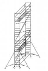 Günzburger Rollgerüst mit Auslegern 0,75x1,80m Plattform, 8,40m AH