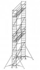 Günzburger Rollgerüst mit Auslegern 0,75x1,80m Plattform, 10,40m AH