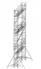 Günzburger Rollgerüst mit Auslegern 0,75x1,80m Plattform, 11,40m AH