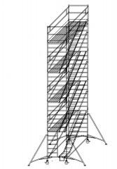 Günzburger Rollgerüst mit Schrägaufstiegen 1,35x3,00m Plattform, 10,40m AH