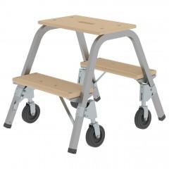 Günzburger Stahl-Holz-Tritt mit Brems-Bockrollen 2 Stufen