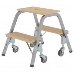 Günzburger Stahl-Holz-Tritt mit Brems-Lenkrollen 2  Stufen