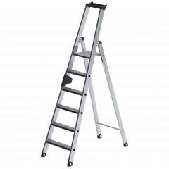 Günzburger Stehleiter einseitig begehbar mit clip-step und Rollen 10 Stufen