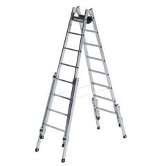 Günzburger Aluminium Stehleiter, treppengängig, mit 4 Holmverlängerungen 2x8 Sprossen