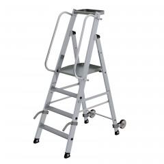 Günzburger Aluminium-Stehleiter mit Rollen und Griff 4 Stufen