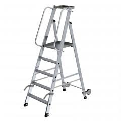 Günzburger Aluminium-Stehleiter mit Rollen und Griff 5 Stufen