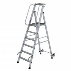 Günzburger Aluminium-Stehleiter mit Rollen und Griff 6 Stufen