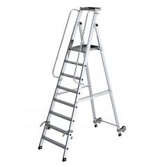 Günzburger Aluminium-Stehleiter mit Rollen und Griff 8 Stufen