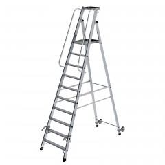 Günzburger Aluminium-Stehleiter mit Rollen und Griff 10 Stufen