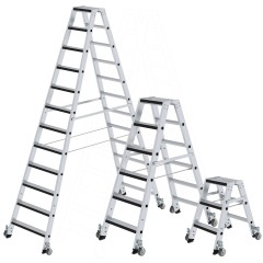 Günzburger Stufen-Stehleiter mit relax step und Rollen, beidseitig begehbar