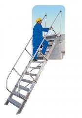 Günzburger Treppe 60°  inkl. einen Handlauf, 1000mm Stufenbreite, 7 Stufen
