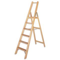Iller Holz-Stufenstehleiter mit Sicherheitsbrücke