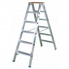 Iller Stufenstehleiter, beidseitig mit 2 Holzstufen als Abschluss