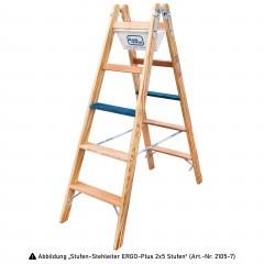 Iller Holz Stufenstehleiter ERGO Plus inkl. Werkzeugtasche und Eimerhaken